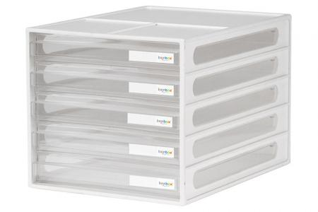 Vertical Desktop Chest with 5 Matching Drawers - Vertical desktop file storage with 5 drawers in white.