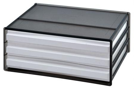 Horizontal desktop file storage with 3 drawers in black.
