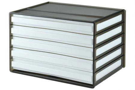 Horizontal desktop file storage with 5 drawers in black.
