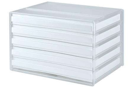 Horizontal Desktop Chest with 5 Matching Drawers - Horizontal desktop file storage with 5 drawers in white.