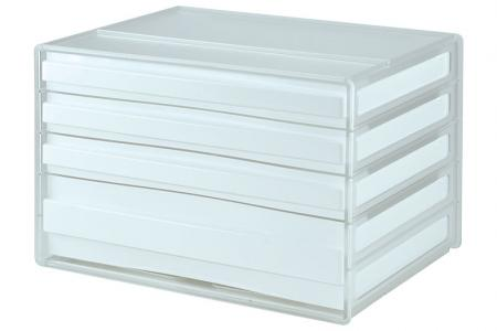 Horizontal Desktop Chest with 4 Assorted Drawers - 1 Large Drawer and 3 Standard Drawers - Horizontal desktop file storage with 4 drawers in white.