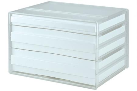 Horizontal Desktop Chest with 3 Assorted Drawers - 2 Large Drawers and 1 Standard Drawer - Horizontal desktop file storage with 3 drawers in white.