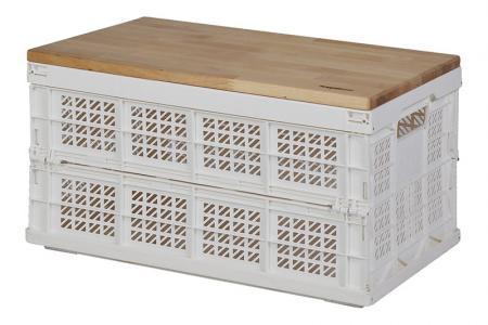 Folding Storage Basket - 27 Liter Volume - Folding storage basket (27L volume) with a wooden lid in white.