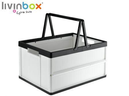 Folding Plastic Shopping Basket with Handles - 27L - Folding Plastic Shopping Basket with Handles - 27L