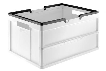 Folding Shopping Basket with Handles - 27 Liter Volume - Folding shopping basket (27L volume) with handles in white.