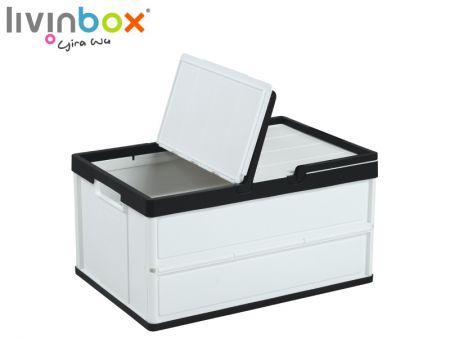 Folding Plastic Shopping Basket with Lid - 27L - Folding Plastic Shopping Basket with Lid - 27L