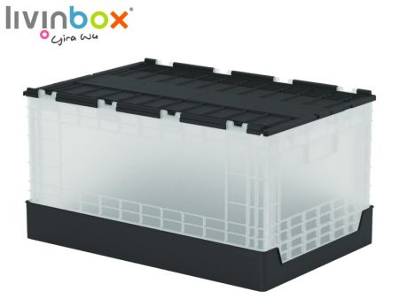 60L Plastic Storage Tote with attached lid - 60L Plastic Storage Tote with attached lid
