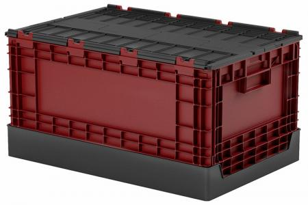 Flip-cover collapsible storage box (60L volume) in black and red.