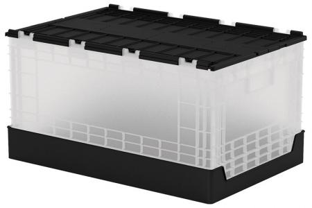 Flip-Cover Collapsible Storage Box - 60 Liter Volume - Flip-cover collapsible storage box (60L volume) in black and transparent.