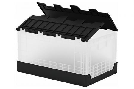 Expanded view of Flip-cover collapsible storage box (60L volume).