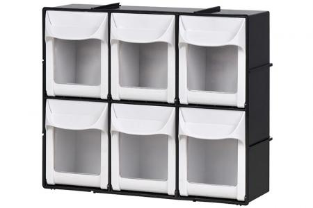 Flip Out Bin Set with 6 Drawer Compartments - Flip out bin set with 6 drawer compartments in black.