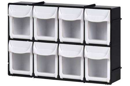 Flip Out Bin Set with 8 Drawer Compartments - Flip out bin set with 8 drawer compartments in black.