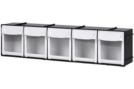 Flip Out Bin Set with 5 Drawer Compartments - Flip out bin set with 5 drawer compartments in black.