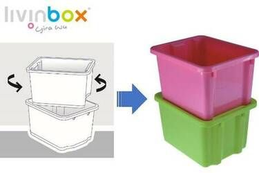 Flip storage bins on their side to stack without a lid