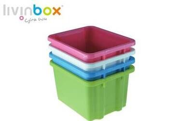 Save space by stacking storage bins