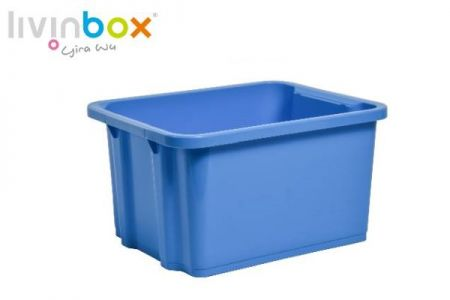 Stackable storage bin without lid, 7.5L, blue
