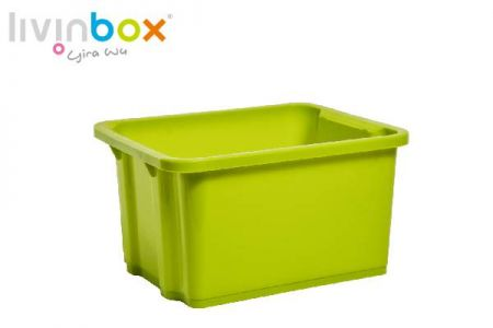 Small stackable and nesting storage bin, 7.5L - Small stackable and nesting storage bin without lid, 7.5L