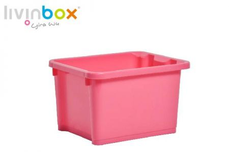 Stackable storage bin without lid, 7.5L, pink