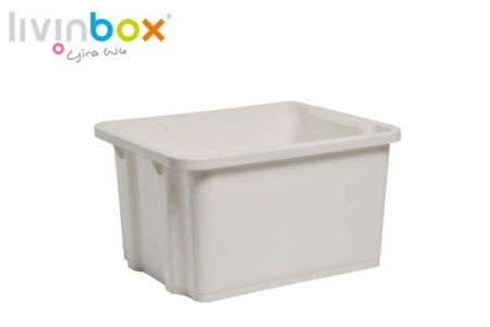 Large stackable and nesting storage bin, 28L