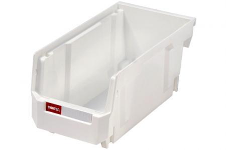 Stacking, Nesting & Hanging Bins - 2.7 Liter - Stacking, nesting and hanging bin (2.7L volume) in white.