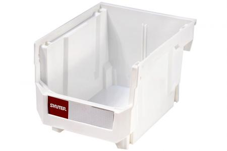 Stacking, Nesting & Hanging Bins - 6.6 Liter Volume - Stacking, nesting and hanging bin (6.6L volume) in white.