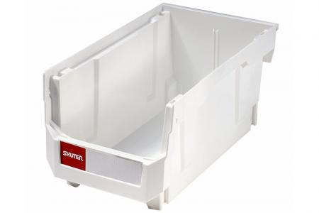 Stacking, Nesting & Hanging Bins - 9.6 Liter Volume - Stacking, nesting and hanging bin (9.6L volume) in white.