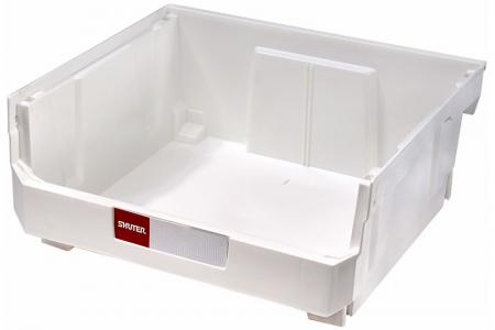 Stacking, Nesting & Hanging Bins - 21 Liter - Stacking, nesting and hanging bin (21L volume) in white.