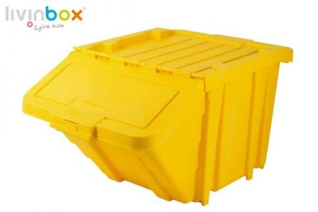 Stackable Recycle Bin with lid, 50L - Stackable Recycle Bin with lid in yellow