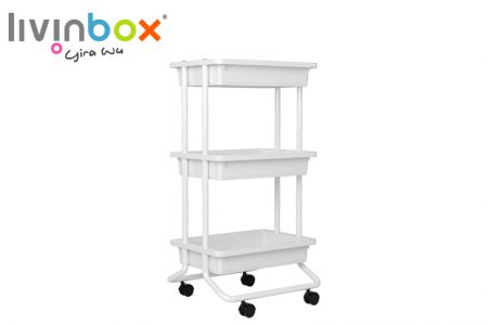 3-Tier Rolling Cart, Tray without venting - 3-Tier Rolling Cart, Tray without venting