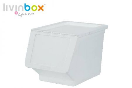 Stackable storage bin with wider mouth, 23L - Stackable storage bin with wider mouth, 23 L, Pelican style in white