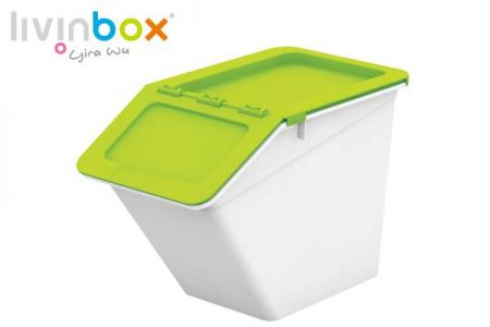 Stackable storage bin with hinged lid, 13L - Stackable storage bin with hinged lid, 13 L, Pelican style in green