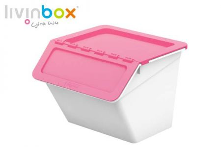 Stackable storage bin with hinged lid, 15L - Stackable storage bin with hinged lid, 15 L, Pelican style in pink