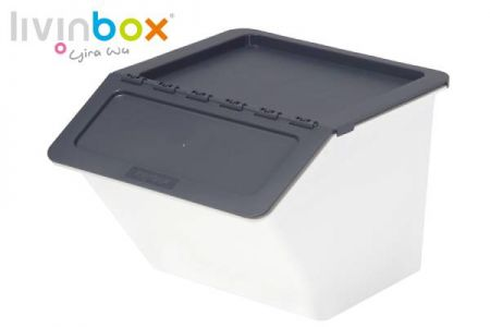 Stackable storage bin with hinged lid, 22L