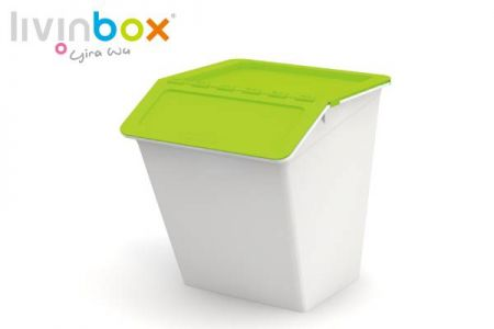 Stackable storage bin with hinged lid, 38L