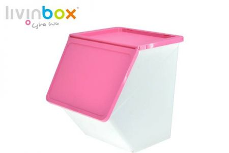 Stackable storage bin with wider mouth, 38L - Stackable storage bin with wider mouth, 38 L, Pelican style in pink