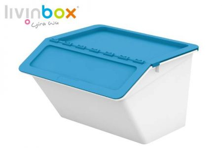 Stackable storage bin with hinged lid, 30L - Stackable storage bin with hinged lid, 30 L, Pelican style in blue