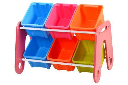 Tour à jouets classique avec 6 bacs - Tour à jouets classique avec 6 bacs.