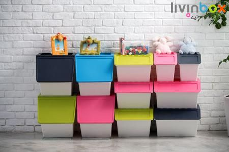 Stacking & Nesting Storage Bin - Modular Storage Box, Storage Container, Storage Bin