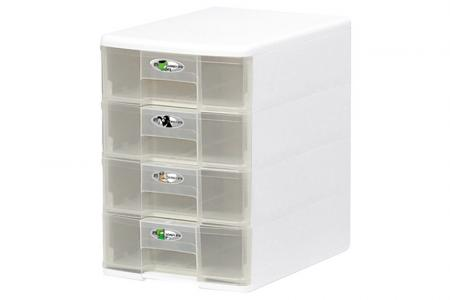 Tower Tidy with 4 Matching Square-Handle A4 Sized Drawers - Tower tidy with 4 matching square-handle A4-size drawers.