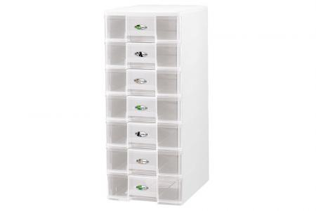 Tower Tidy with 7 Matching Square-Handle A4 Sized Drawers - Tower tidy with 7 matching square-handle A4-size drawers.