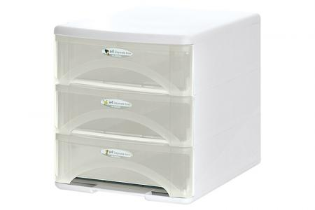 Tower Tidy with 3 Matching Slim Rainbow-Handle A4 Sized Drawers