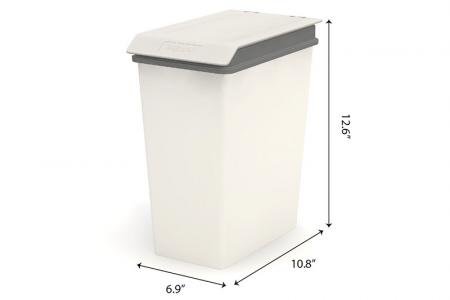 Small Recycling Bin with Lid - 10 Liter Volume - Small recycling bin with lid (10L volume) in grey.