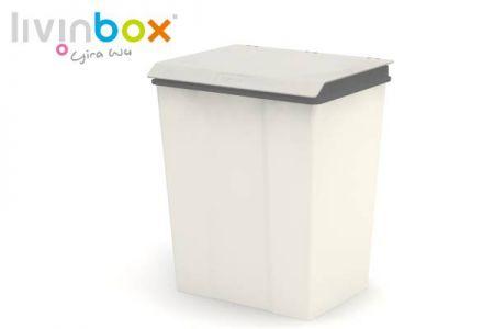 Thùng rác lớn có nắp, 28L - Thùng rác lớn có nắp (thể tích 28L) màu xám.