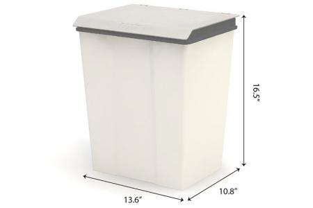 Large Recycling Bin with Lid - 28 Liter Volume - Large recycling bin with lid (28L volume) in grey.