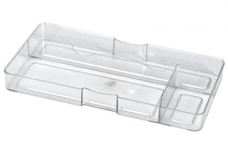 Desk Drawer Tidy with 3 Compartments - Desk drawer tidy with 3 compartments in clear.