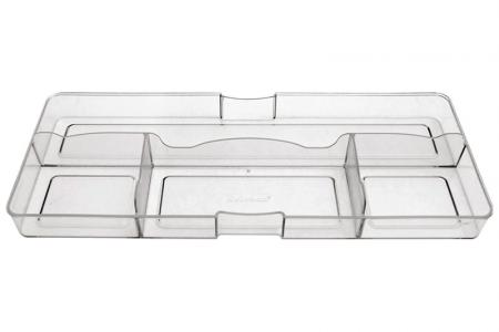 Desk Drawer Tidy with Large Front and 4 Compartments - Desk drawer tidy with large front and 4 compartments in clear.