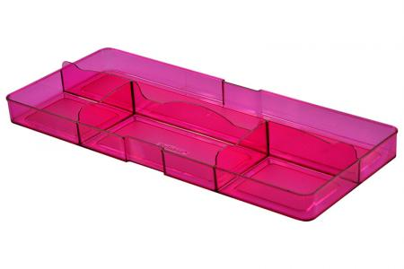 Desk Drawer Tidy with Large Back and 4 Compartments - Desk drawer tidy with large back and 4 compartments in pink.