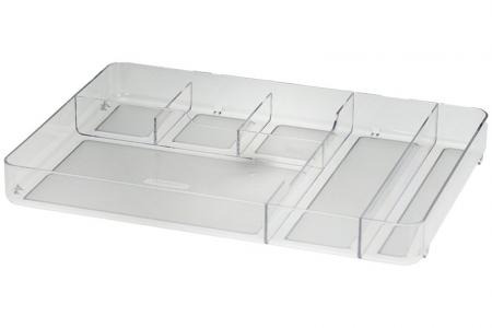 Desk Drawer Tidy with 6 Compartments - Desk drawer tidy with 6 compartments in clear.