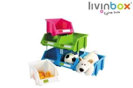 Lixeira - Caixa de armazenamento empilhável, organizador de peças, caixa de armazenamento modular, caixa de aninhamento