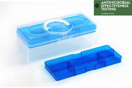 Portable Antibacterial Craft Organizer Box, 3.3 Liter - Portable antibacterial hobby storage box